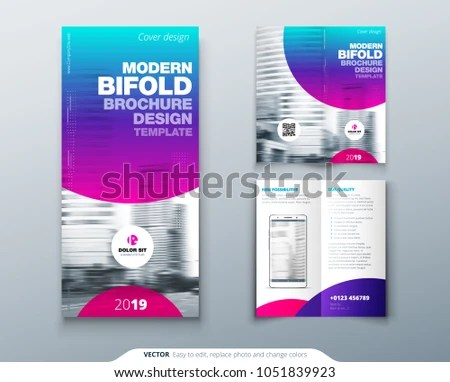 Bi Fold Brochure Design Cool Business Stock Vector (Royalty Free