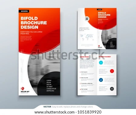 Bi Fold Brochure Design Red Business Stock Vector (Royalty Free