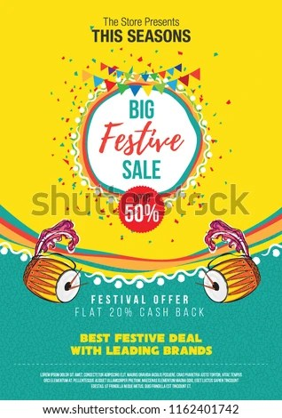 Big Festival Sale Poster Design Layout Stock Vector (Royalty Free