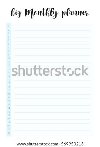 Big Monthly Planner Simple Elegant Template Stock Vector (Royalty