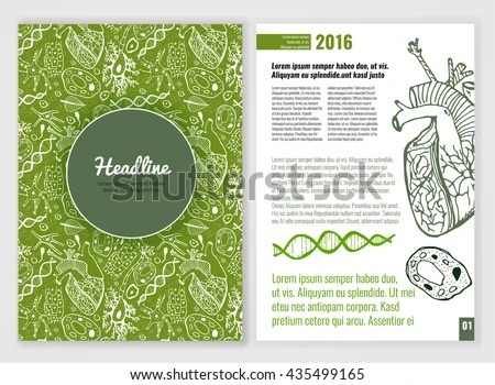 Biology Scientific Brochure Template Bright Modern Stock Vector
