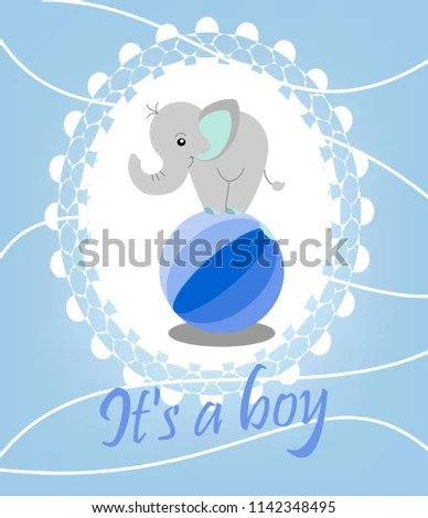Birth Announcement Template Cute Elephant Boy Stock Vector (Royalty