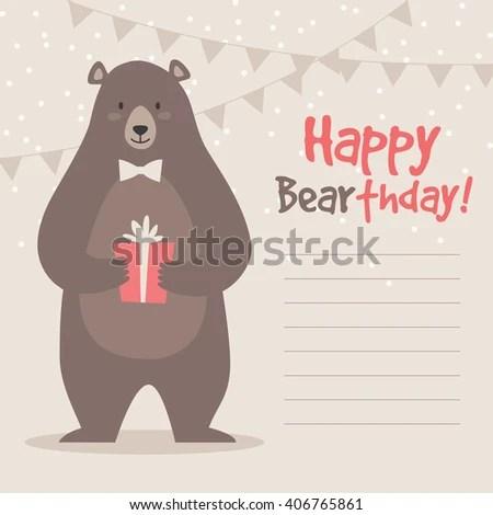 Birthday Greeting Card Template Vector Illustration Stock Vector