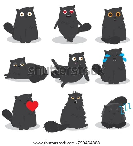 Black Cat Emoji Set Stock Vector (Royalty Free) 750454888 - Shutterstock