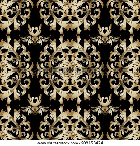 Black Damask Baroque Seamless Pattern Floral Ornament Stock Vector