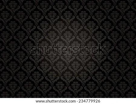 Black Damask Pattern Stock Vector (Royalty Free) 234779926
