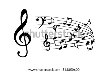 Black Icons Music Treble Clef Bass Stock Vector (Royalty Free