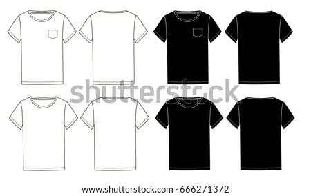 Black White Basic Unisex Tshirts Template Stock Vector (Royalty Free