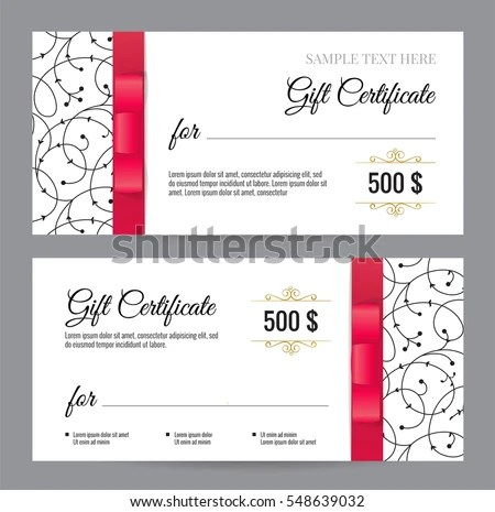 Black White Gift Voucher Template Floral Stock Vector (Royalty Free