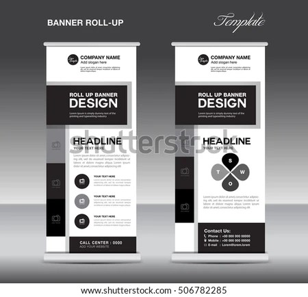 Black White Roll Banner Template Info Stock Vector (Royalty Free