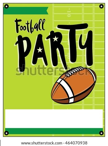 Blank American Football Party Flyer Template Stock Vector (Royalty