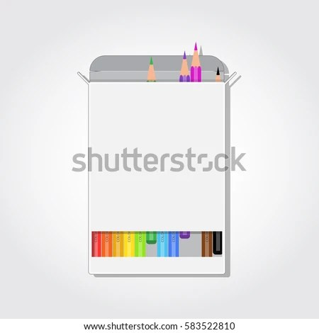 Blank Box Colorful Pencils Rectangle Cut Stock Vector (Royalty Free