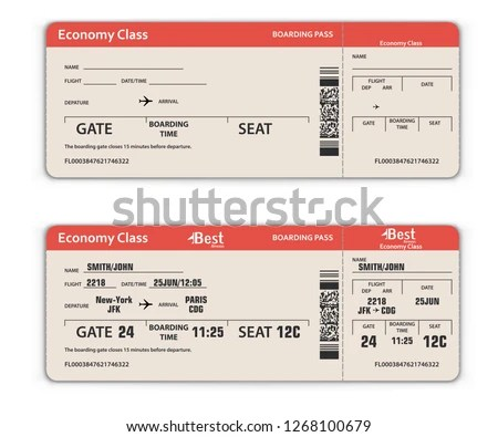 Blank Filled Airport Boarding Pass Template Stock Vector (Royalty