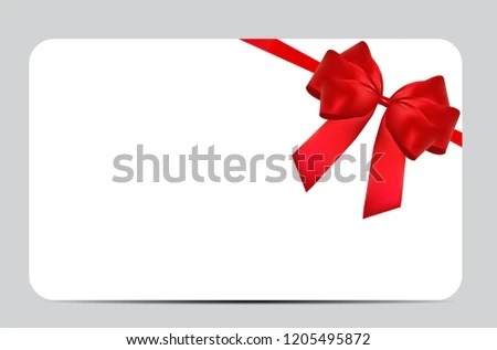 Blank Gift Card Template Red Bow Stock Vector (Royalty Free