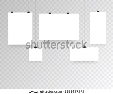 Blank Hanging Photo Frames Poster Templates Stock Vector (Royalty