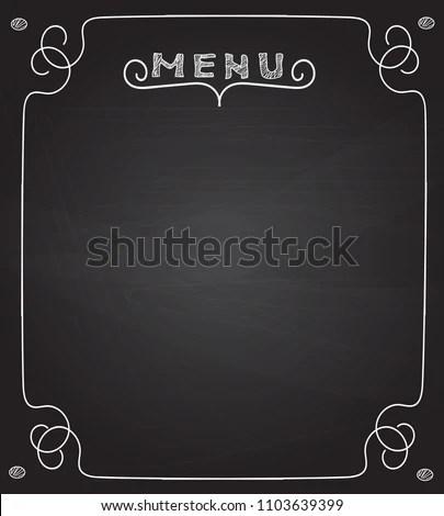 Blank Menu On Blackboard Handwriting Letters Stock Vector (Royalty