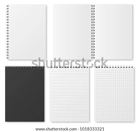 Blank Open Closed Realistic Notebook Organizer Stock Vector (Royalty