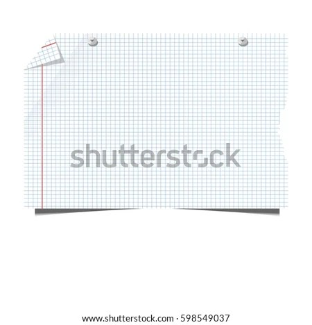 Blank Paper Sheet Squared Lined School Stock Vector (Royalty Free