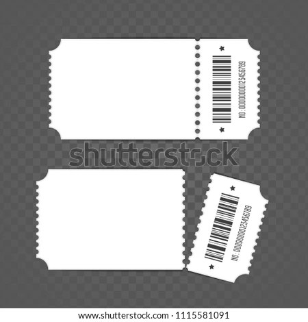 Blank Ticket Template Retro Cinema Ticket Stock Vector (Royalty Free