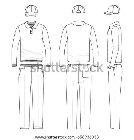 Blank Vector Templates Polo Shirt Pants Stock Vector (Royalty Free