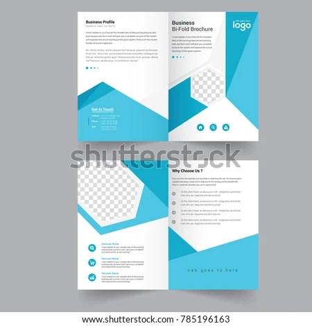 Blue Bi Fold Vector Brochure Template Design Stock Vector (Royalty