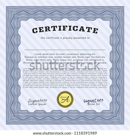 Blue Certificate Achievement Template Complex Linear Stock Vector