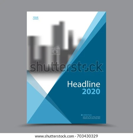 Blue Cover Design Annual Report Template Stock Vector (Royalty Free