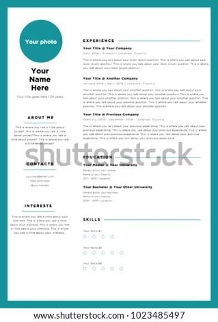 Blue Frame Creative Colorful CV Resume Stock Vector (Royalty Free
