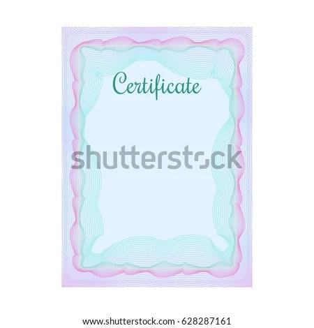 Blue Vertical Guilloche Certificate Template Official Stock Vector