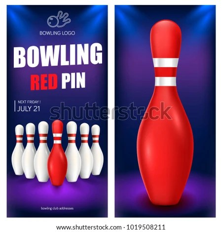 Bowling Red Pin Flyer Template Vector Stock Vector (Royalty Free