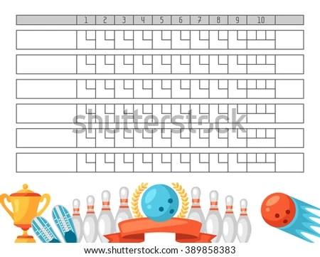 Bowling Score Sheet Blank Template Scoreboard Stock Vector (Royalty