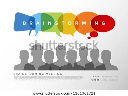 Brainstorming Meeting Template Speech Bubbles People Stock Vector