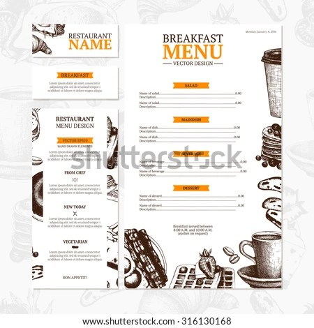 Breakfast Menu Template Cafe Restaurant Identity Stock Vector