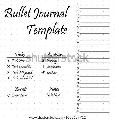 Bullet Journal Template Simple Papers Task Stock Vector (Royalty