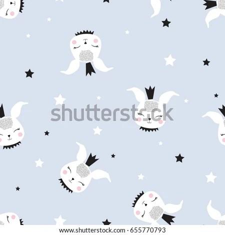 Bunny Pattern Illustration Vector Print Design Stock Vector (Royalty