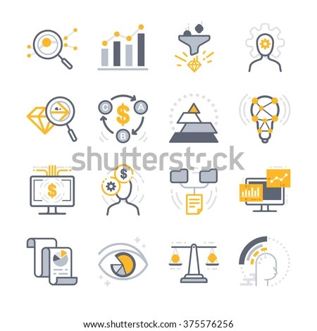 Business Analysis Icons Included Icons Filter Stock Vector (Royalty