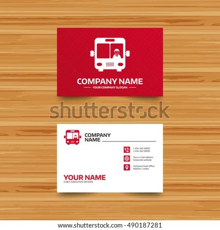 Business Card Template Bus Sign Icon Stock Vector (Royalty Free