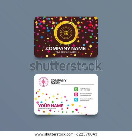 Business Card Template Confetti Pieces Compass Stock Vector (Royalty