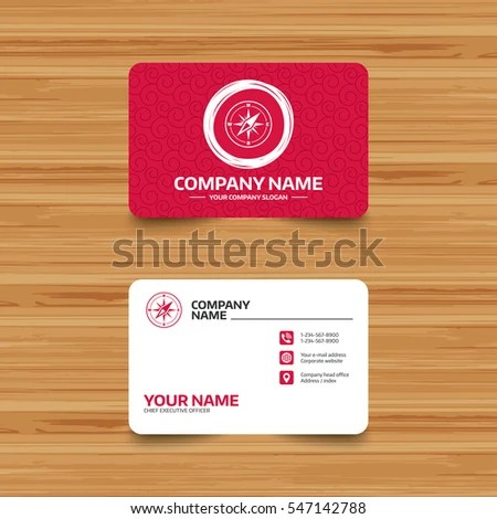 Business Card Template Texture Compass Sign Stock Vector (Royalty