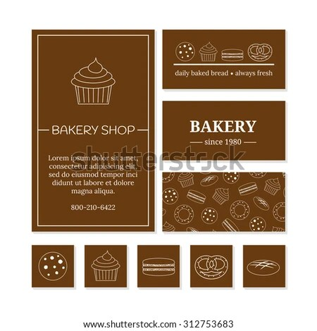 Business Card Templates Bakery Shop Cafe Stock Vector (Royalty Free