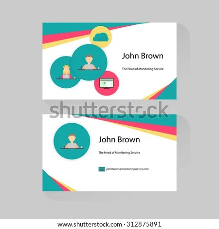 Business Card Trendy Flat Design Icons Stock Vector (Royalty Free