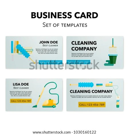 Business Cards Templates Set Cleaning Company Stock Vector (Royalty