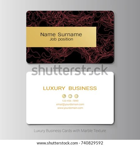 Business Cards Vector Template Abstract Red Stock Vector (Royalty