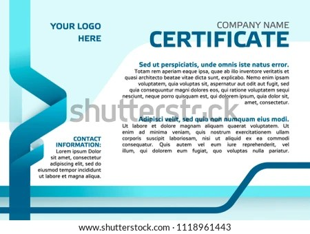 Business Certificate Template Printable Clean Corporate Stock Vector