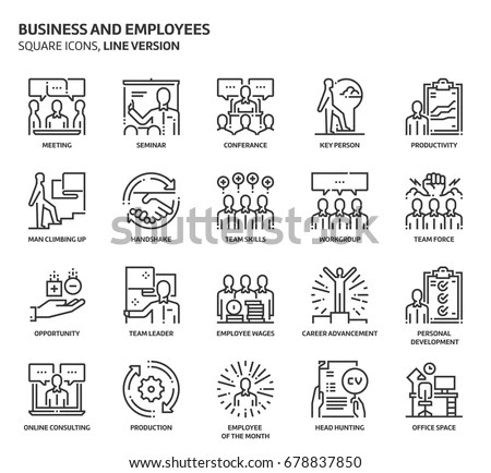 Business Employees Square Icon Set Illustrations Stock Vector