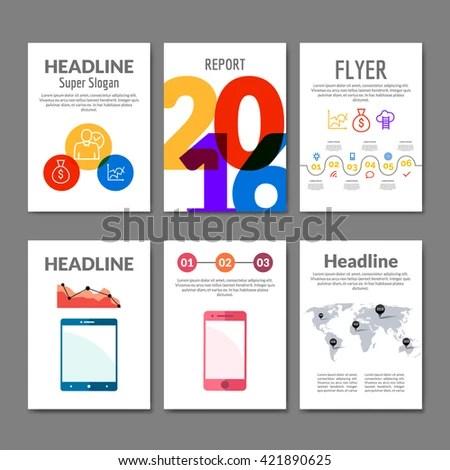 Business Flyer Set Brochure Infographics Modern Stock Vector
