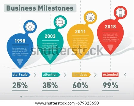 Business Presentation Infographic Company Milestones 4 Stock Vector