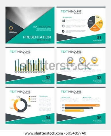 Business Presentation Template Set Powerpoint Layout Stock Vector
