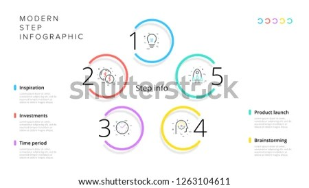 Business Process Chart Infographics 5 Step Stock Vector (Royalty