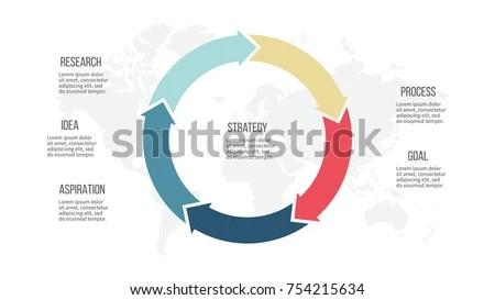 Business Process Circular Arrows 5 Options Stock Vector (Royalty